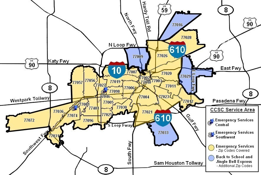 Greater Houston Area Zip Code Map.Programs Who We Help Zip Code Map Ccsc Houston
